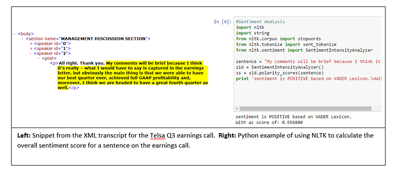 Snippet-from-XML-transcript-for-Tesla-Q3-Earnings-Call-and-Python-Example-of-using-NLTK-to-calculate-the-overall-sentiment-score-for-a-sentence.png